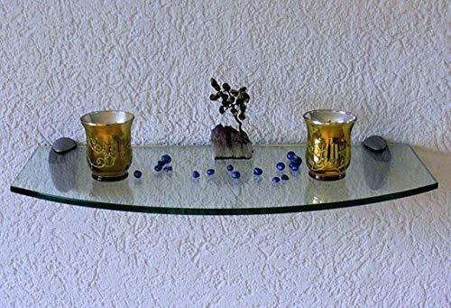 Trend-System Glas Wandregal Claro Convex, geschwungen, Badregal, klar oder satiniert, Farben/Größen wählbar, mit verschiedenen Wandhalterungen (Claro klar 60x20-30x1,0 cm, Clip Midas Edelstahl)