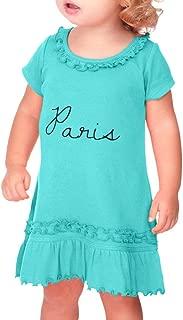 Paris Taped Neck Toddler Short Sleeve Girl Ruffle Cotton Sunflower Dress