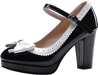 Mujer Dulce Bombas Zapatos Lazo Mary Jane Pump