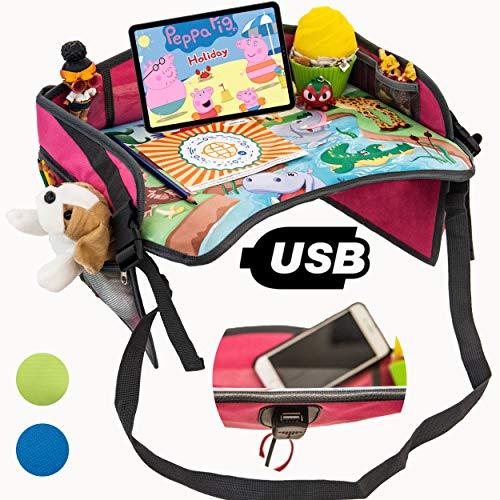 TavolinoGioco1+ da Viaggio Auto per Bambini 2.0 con porta USB x Tablet,Smartphone Tavolino Sedile Vassoio Gioco Portatile per Disegnare,Intrattenere bimbi in Aereo,Treno,Passeggino,Seggiolino(Rosa)