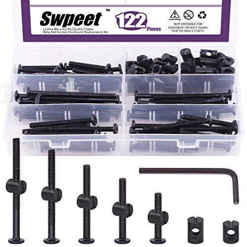 Swpeet 120Pcs Crib Hardware Screws, Black M6 × 35/45/55/65/75mm Hex Socket Head Cap Crib Baby Bed Bolt and Barrel Nuts with 1 x Allen Wrench Perfect for Furniture, Cots, Crib Screws
