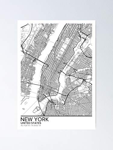 AZSTEEL New York Map Poster Print Wall Art United States Gift Printable Home and Nursery Modern Decor for Office Map Art Gifts Poster Best Mothers Day