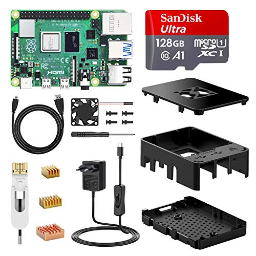 NinkBox Raspberry Pi 4 Model B 8 GB Super Kit with 128GB Micro SD-Card original Raspberry Pi 4 Cortex A72 1.5GHz supports dual display 4K / 1000Mbps / Bluetooth 5.0 (improved Raspberry Pi 3)