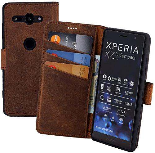 Suncase Book-Style kompatibel für Sony Xperia XZ2 Compact Hülle (Slim-Fit) Leder Tasche Handytasche Schutzhülle Hülle (mit Standfunktion & Kartenfach - Bruchfester Innenschale) in antik Coffee
