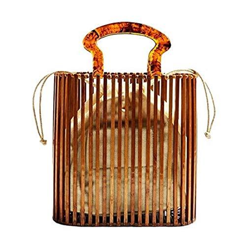 Handtasche für Damen, Bambus, handgewebt, Acrylgriff, Canvas, Handtasche