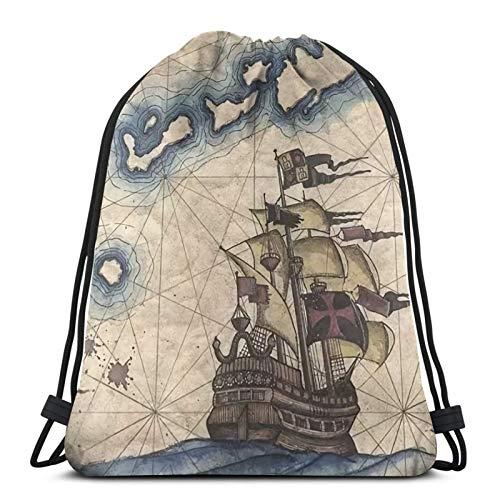 fenrris65 Bolsa con cordón de terileno para barcos marineros y pirate Map (1) String Backpack para hombre y mujer
