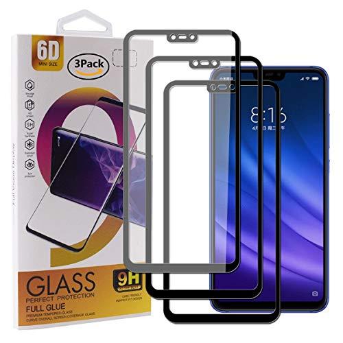 Guran [3 Paquete Protector de Pantalla para Xiaomi Mi 8 Lite Smartphone Cobertura Completa Protección 9H Dureza Alta Definicion Vidrio Templado Película - Negro