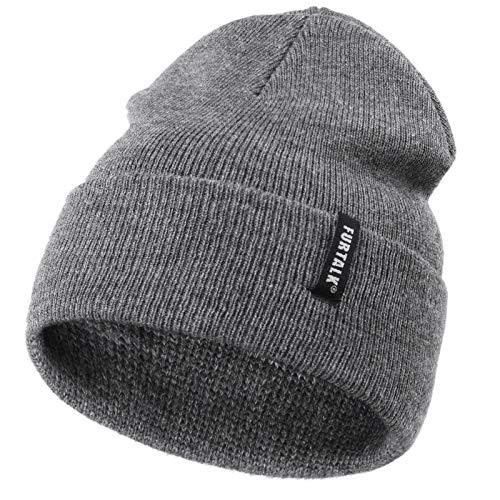 FURTALK Toddler Knitted Winter Hat Boys Girls Acrylic Beanie Hat Baby Kids Cuffed Winter Hats,Mixed Dark Grey