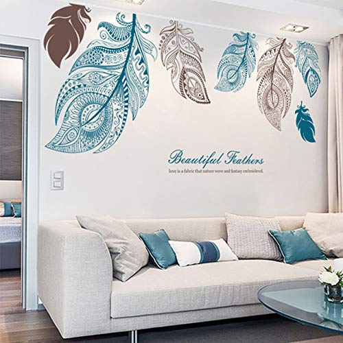M ACHOOSE Feathers Wall Decals Large Wall Stickers Peel and Stick Removable Decal Stick DIY Wall Art Murals Home Wall Decor for Bedroom Living Room Classroom Office Wall Decaoration