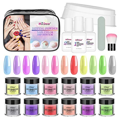 12 Colour Dip Powder Nail Kit Nail Manicure Set, MS.DEAR Dipping Powder...