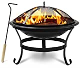 """Sorbus Fire Pit Bowl 30', Includes Mesh Cover, Log Grate, Curved Legs, and Poker Tool, Great BBQ Grill for Outdoor Patio, Backyard, Camping, Picnic, Bonfire, etc (Black Fire Pit Bowl 30"""")"""