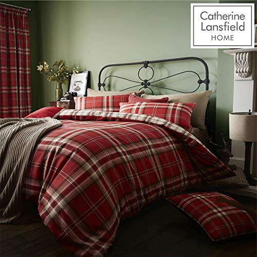 copripiumino matrimoniale flanella Catherine Lansfield Kelso Cotton Rich Single Duvet Set Red