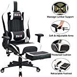 Remaxe Office Chair Gaming Chair with Retractable Footrest, High-Back Racing Chair Ergonomic Swivel PC Chair,PU Leather Executive Home Computer Chair with Headrest and Lumbar Massager Support