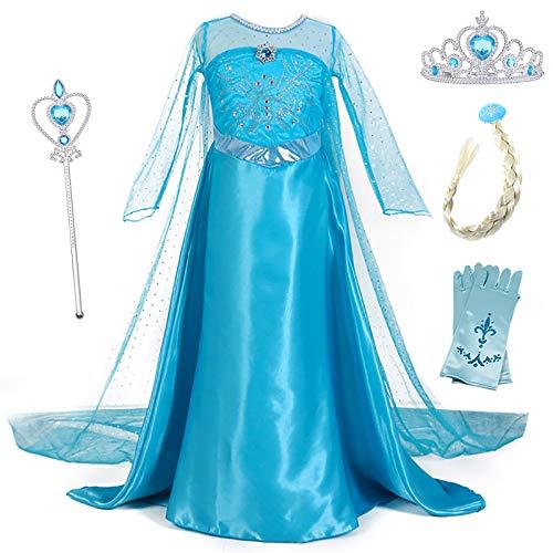 YOSICIL Vestido de Princesa Elsa Vestido Frozen Niñas Disfraz Traje de Cumpleaños Ninas Fancy Dress Nina Disfraz Elsa Princesa Cosplay con Accesorios Traje de Arrastre 3-10Años 110-150cm