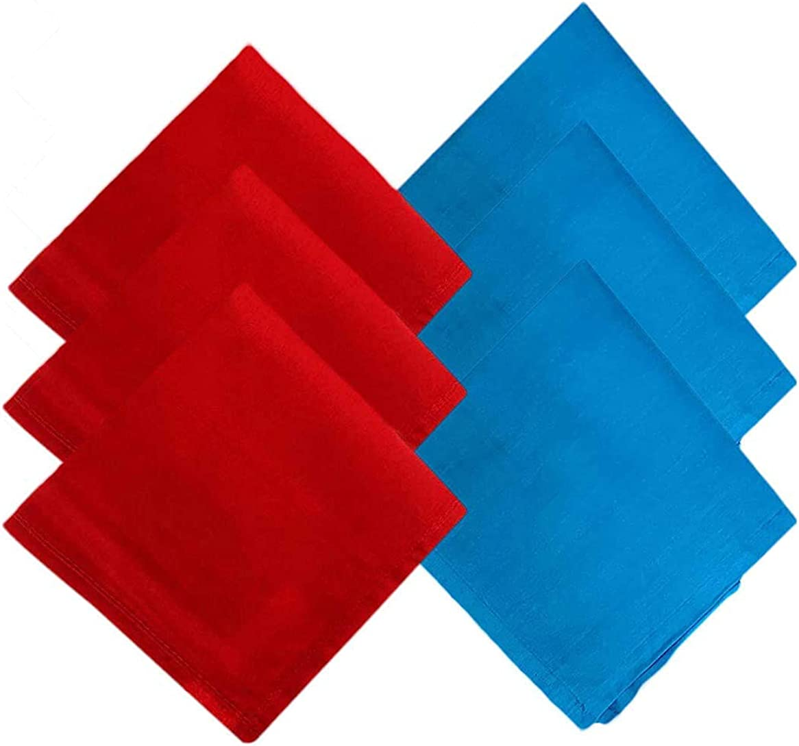 Kalagiri Cotton Premium Collection Red And Blue Handkerchiefs Hanky Set For Men - Pack of 6 Pcs