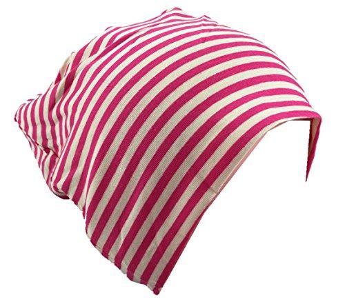 Baby Kinder Jersey Slouch Beanie Long Mütze mit Streifen Unisex Baumwolle Trend KB23-16