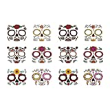 Halloween Face Tattoo Paste, the Dead Halloween Face Tattoo Sticker Glitter Red Roses Sugar Skull Temporary Tattoo for Halloween, Party Supplies, Cosplay Props (2 Sets)