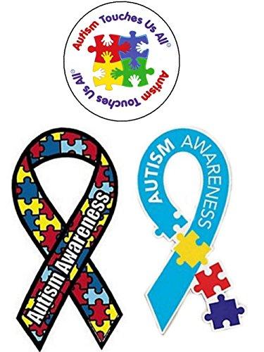 3 Autism Awareness Car Magnets- Ribbon Puzzle Piece, Multi-Color Puzzle Piece, Autism Touches Us All Circle
