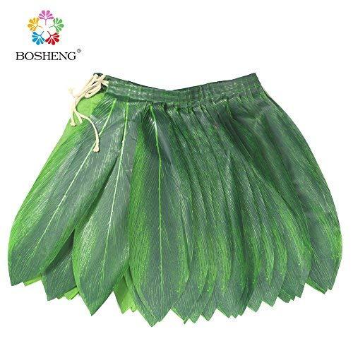 BOSHENG Ti Leaf Hula Skirt Luau Party Accessory Green Skirt Kids Size