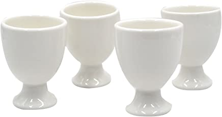 Preisvergleich für AiSi 4-er Porzellan Eierbecher Set, Eierständer Eier Becher Spülmaschinen geeignet, weiß