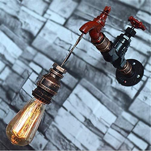 Despeje Luces de pared Interior Retro Retro Steampunk Lámpara de noche Creativa Rojo Grifo Diseño Lámpara de pared de agua de hierro labrado con E27 Toma para sala de estar Bar Bar Cafe Restaurantes C