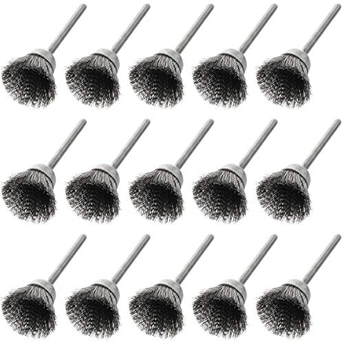 Magic&shell Wire Brush 15PCS Cup Shape 15mm End Brushes Stainless Steel Wire Brush 1/8