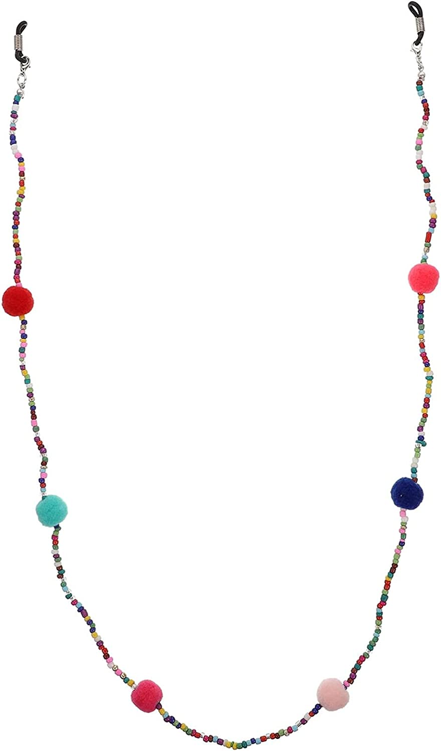 EXCEART Bead Eyeglass Strap Holder Beaded Chain Ear Protector Mouth Cover Lanyard Non- Skid Face Holder Adjustable Necklace Strap for Men Women Colorful
