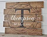 Personalized Printed Wood Family Name Sign With Rustic Pallet Monogram 15x18