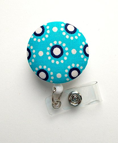Blue and Navy Circles - Nurse Badge Holder - Flower Badge Reel - Retractable Badge Reel - Teacher Badge - Cute Badge Reel - Hospital Badge - Nurse - Badge Pull - Lanyard - Pretty Badge Reel