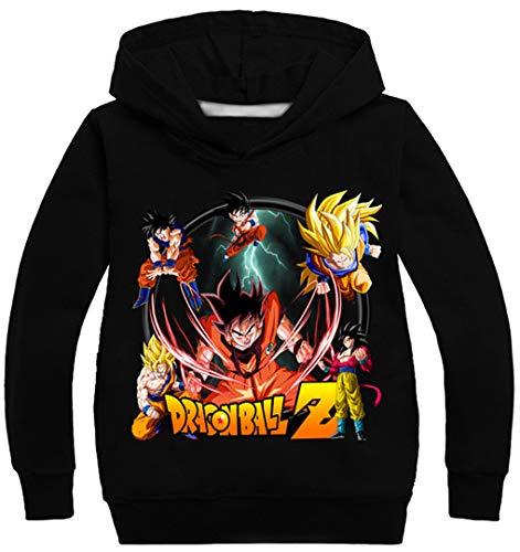 Silver Basic Sudadera con Capucha Unisex Anime Dragon Ball Z Son Goku Kakarotto Jumper para Niños y Niñas140, Negro A-1