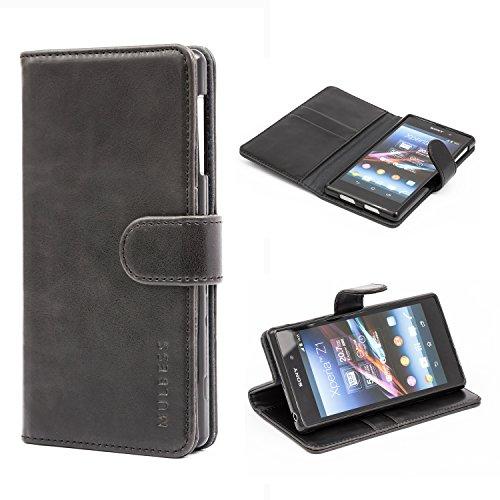 Mulbess Funda Sony Xperia Z1 [Libro Caso Cubierta] [Vintage de Billetera Cuero de la PU] con Tapa Magnética Carcasa para Sony Xperia Z1 Case, Negro