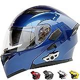 TONGDAUR Casco de la Motocicleta Anti-Niebla Doble Lente Cascos Bluetooth eléctrico Casco de la Motocicleta Respirable cómodo Contrabajo (Color : Azul, Size : XXL)