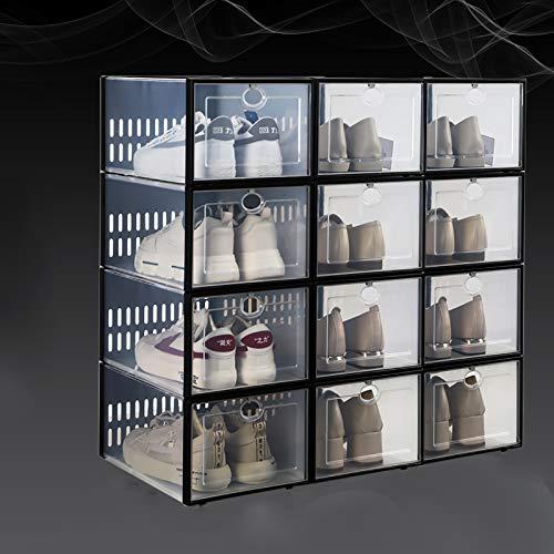 Caja De Zapatos Apilable De 12 Paquetes,Plegable Portátil Estante De Zapatos De Plástico Transparente Para Armarios,Contenedor De Zapatos De Zapatillas Deportivas,Estantes De Zapat-B 33.7x23.3x15.3cm