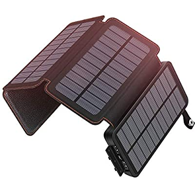 Solar Charger 25000mAh ADDTOP Waterproof Power Bank with 4 Solar Panels Portable Battery Pack for iPhone, iPad, Samsung and Smartphone
