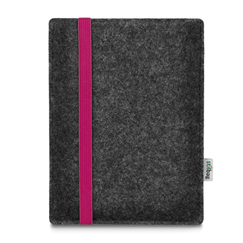 stilbag e-Reader Tasche Leon für Amazon Kindle Oasis (9. Generation) | Wollfilz anthrazit - Gummiband pink | Schutzhülle Made in Germany