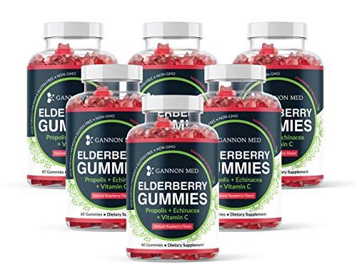 Elderberry Gummies for Kids & Adults Immune Support - Vitamin C Echinacea Propolis & Sambucus Black Elderberry Gummy Vitamins - Organic Nature Booster Non-GMO Gluten Free - USA - 6 Pack