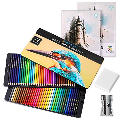Colored Pencils, 72 Colored Professional Watercolor Pencils for Kids, Art Supplies for Adults, Ideal for Coloring, Blending and Layering, with 2 Sketch Books,1 Sharpener,1 Eraser