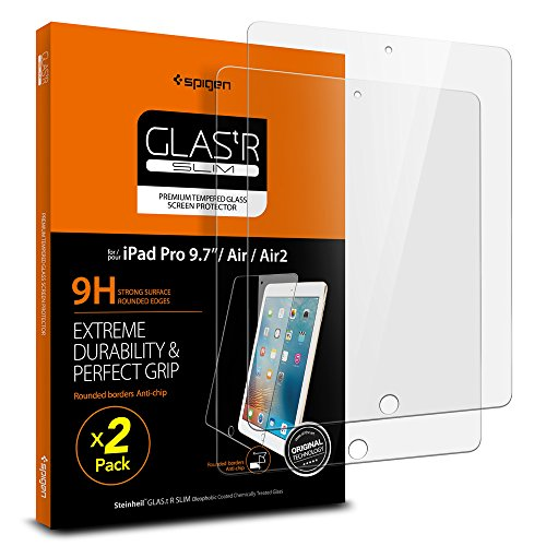 Spigen Tempered Glass Screen Protector Designed for iPad Pro 9.7 (2016) / iPad Air 9.7 (2013) [9H Hardness/Case-Friendly] (2 Pack)