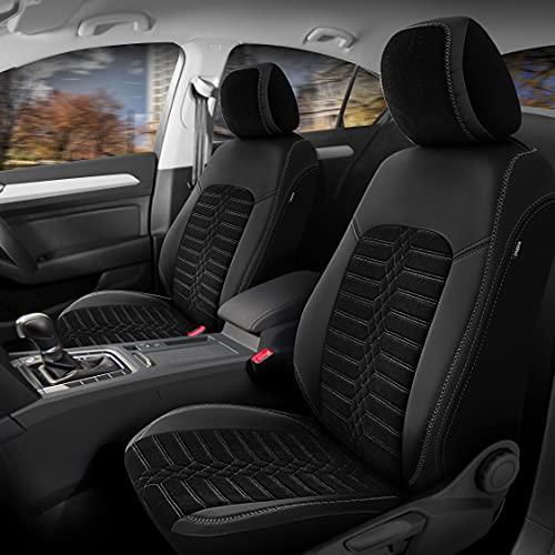 Fundas de asiento de coche de piel sintética para Opel Astra, color negro, juego completo para asientos delanteros y traseros de 5 asientos con airbag compatibles, accesorios para el interior