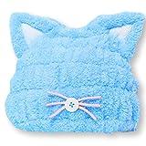 Felimoa 子供用 吸水 タオルキャップ ねこみみ ドライキャップ ふわふわ アニマル かわいい お風呂上がり 全2色 (ブルー)