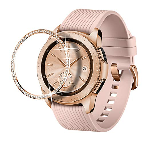 Dsytom Jewelry Bezel Ring Compatible with Galaxy Watch Bezel 42mm,Gear Sport Watch Bezel Cover Protector Adhesive Loop Anti Scratch Design for Samsung Galaxy Watch 42mm/Gear Sport(Rose Gold)