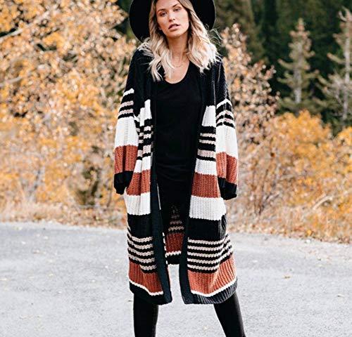 N-B Suéter de Mujer de Talla Grande Suelta a Rayas suéter a Juego de Color cárdigan de Punto Abrigo de Lana Estampado de Longitud Media otoño e Invierno