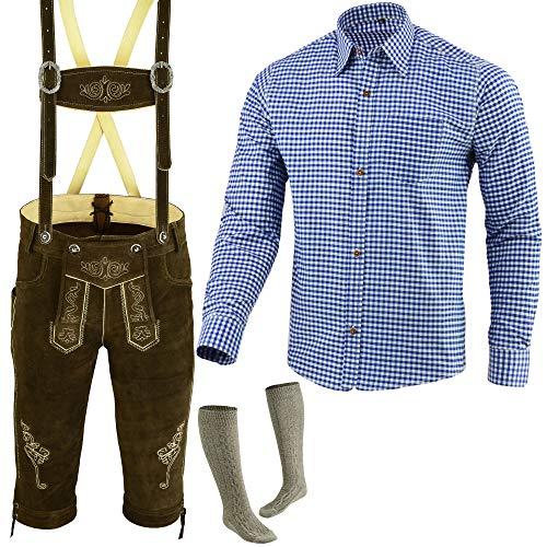 Speed4allkinds Herren Trachten Lederhose Größe 46-62 Trachten Set,Hose,Hemd,Socken Neu (Lederhose 58 Blau Hemd XXL Socken 46)