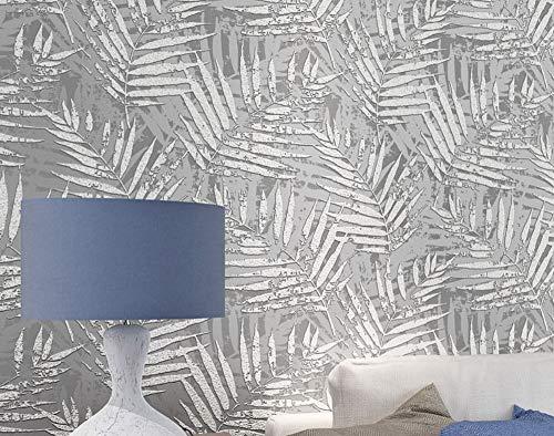 Papel Pintado No Tejido Flocado Palmera Hojas Gris No-Tejido de Papeles Muro Decoración de Pared para Dormitorio TV Telón de Fondo 0.53x10m