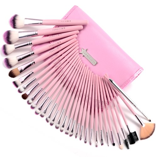 Fräulein38 Trousse Pinceaux Maquillage Rose Fard à Paupières Ombre 31 Pièces