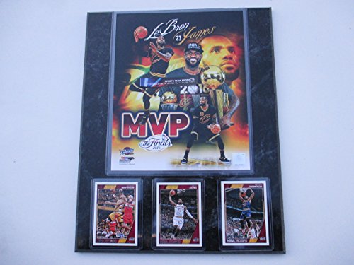 LeBron JAMES CLEVELAND CAVALIERS 2016 NBA FINALS MVP PHOTO & 3 CARDS MOUNTED ON A 12' X 15' BLACK MARBLE PLAQUE