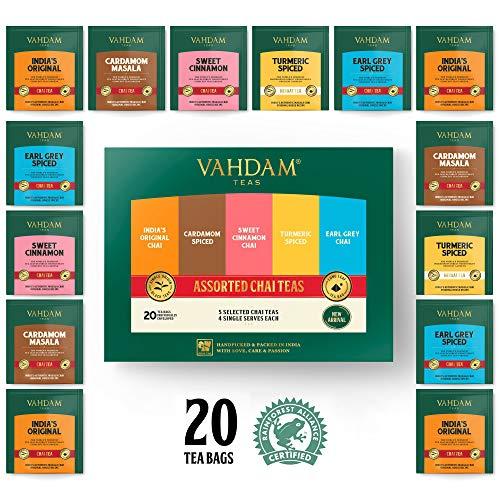 VAHDAM, Chai Tee Sampler, 5 TEAS | Verschiedene Chai Teebeutel | Kardamom Teebeutel, Zimt Teebeutel, Kurkuma Masala Chai Teebeutel | 20 teebeutel für losen tee | Chai Latte, Tee - Geschenkset