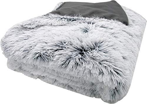 HANHAN Plaid Fausse Fourrure, 160 x 200 cm Cosy Couverture Polaire Réversible, Douce en Fausse Fourrure Chaude Shaggy, Confortable, Couverture Moelleuse de qualité pour canapé-lit