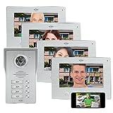 ELRO DV477IP4 - Videoportero automático (Wi-Fi, IP, 4 familias, Pantalla a Color de 7 Pulgadas, visión Nocturna, visión en Directo y comunicación vía App)