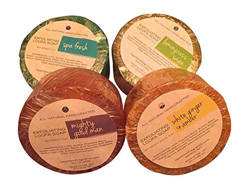 Heartland Fragrance Handmade Exfoliating Loofah Bar Glycerin Soap (5 Oz Each) in Gift Box (1 of Each (4 pk))